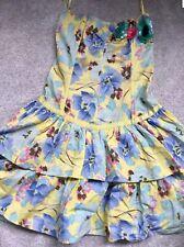 River Island Lemon Flower Print Strapless Corset Dress Size 10