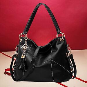 Schwarz Tasche Leder Damentasche Shopper Handtasche Tragetaschen Schultertasche