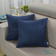 2pcs Square Pillows Cushion Covers Shell Heavy Faux Suede 45cmx45cm Navy Blue