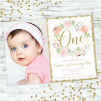 FIRST BIRTHDAY INVITATIONS FLORAL 1ST BIRTHDAY GIRL PARTY PERSONALISED INVITES