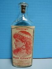 "RARE VTG. ANDREWS HAIR GROWER QUACK MEDICINE 7"" GLASS BOTTLE - COMPLETE LABEL"