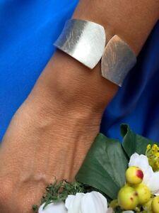 Gold or Silver Scratched Cuff Bracelet
