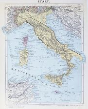 Vecchia ANTICA MAPPA ITALIA CORSICA SARDEGNA SICILIA c1890'S by maclure STAMPATA A COLORI