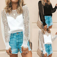 Summer Womens Lace Vest Top Sleeveless Club Party Sheer T Shirt Blouse Plus Size