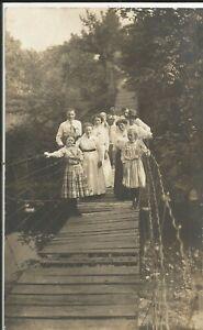 Group on bridge, Highland Creek, Toronto, Canada, on older real photo postcard