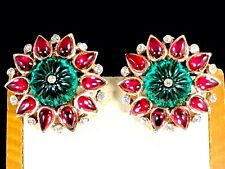 1949 CROWN TRIFARI RUBY RED EMERALD CABOCHON MOGHUL INDIA SCHEHERAZADE EARRINGS