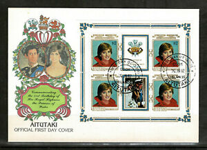 Aitutaki 1982 The 21st Anniversary of the Birth of Diana -  FDC Minisheet- Mint1