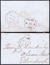 Grenada 1848 envelope used to Edinburgh Superb GRENADA DOUBLE ARC CDS