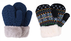 Winter Warm Gloves Kids 2 Pairs Sherpa Lined Knitted Gloves Boys Girls Mittens