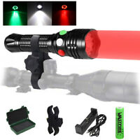 Tactical Red/Green/White LED Hunting Light Hog Night Predator Flashlight Rifle
