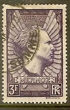 "FRANCE TIMBRE STAMP N°338 ""AVIATEUR JEAN MERMOZ, 3 F LILAS"" OBLITERE TB"