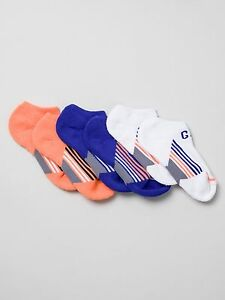 NWT GAP KIDS BOY'S MULTI-COLOR 3 PAIRS LOGO ATHLETIC ULTRA LOW ANKLE SOCKS