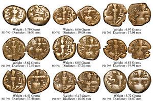 Toramana Kashmir Harsha Deva Copper Drachm Set Of 9 Coins