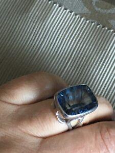 Huge Minimalist Modernist Silver Blue Gemstone Ring SILVER Sz N1/2