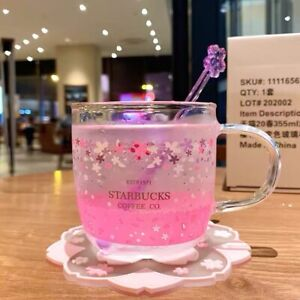 Starbucks ColorChanging Mugs Sakura Glass Cup w/ Coaster stirring rod Coffee Mug