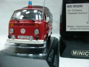 WOW EXTREMELY RARE VW Bulli T2 Camion ST 1974 Fire Dortmund 1:43 Minichamps-T1