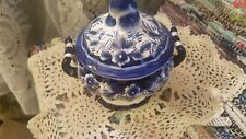 Godinger Blue And Cream Floral Candy Dish