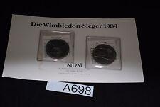 2 x 5 Neuseeland Dollar 1987,Steffi Graf & Boris Becker mit Zert. Cu/Ni ca 28g.