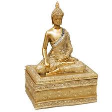 Gold Antique Style Thai Buddha Trinket Box Statue Gift Ornament Stash Storage