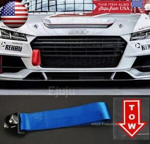 Blue Bumper Crash Beam Tow Hook Strap w/ Red Tow Arrow Sticker For BMW Audi