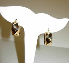 """18KT Yellow Gold Twisted Ribbon Hoop Earrings w/Snap Closure 7/8""""L X 3/8"""" NWOT!!"""
