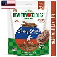Nylabone Healthy Edibles Chewy Dog Treat Sticks Beef 12 oz.