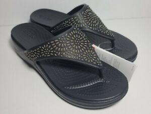 Size 8 Womens Crocs Monterey Diamante Black  Wedge Thong Sandals