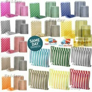 """CANDY PAPER BAGS POLKA DOT/STRIPE SWEET PARTY CAKE FAVORS COUNTER 5"""" x 7"""""""