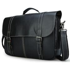 """Men Real Leather Briefcase 16"""" Laptop Messenger Shoulder Bag Satchel Luggage"""