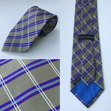 "Croft & Barrow 100% Silk 58"" Olive Green Purple Geometric Designer Necktie Tie"