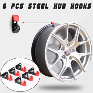 6X Tire Wheel Hub Metal Holder Rack Wall Mounted Car Wheel Hub Hanging Boss Hook