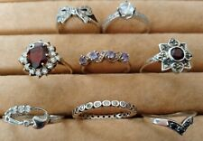 Very Nice Job Lot Sterling Silver 925 Rings Marcasite Garnet Tanzanite Sapphire
