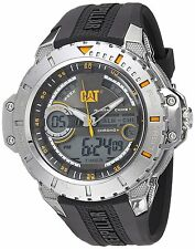 CAT WATCHES Mens Anadigit Quartz Stainless Steel and Rubber Casual, Color:Black