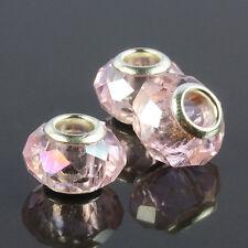 5X Pink Crystal Glass Gemstone Loose Big Hole Beads Fit European Charms Bracelet