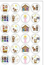 24 PRECUT Christmas Childrens Nativity Edible Wafer Paper Cupcake Cake Toppers