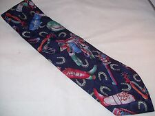 Carlo Palazzi Studio Cowboy Designer Tie Men's Silk Necktie Blue NWT USA