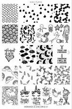 Dixie Plate Stamping Nail Art Accessories Mermaids & Unicorns 01 plate