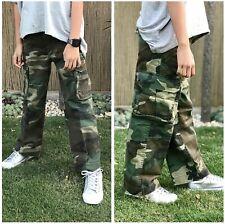 Boys Girls Kids Teens Paratrooper Fatigue Scout Woodland Camo Cargo Pants