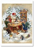 Kids Lovely Girl Boy Santa Claus Winter ART Russian new modern cards Postcard