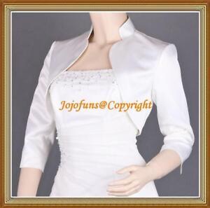 IVORY Satin Wedding 3/4 Sleeve Shrug/Prom Bolero/Capelet/Coat/Jacket/Cover Up