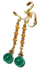 Very Long Gold Jade Green Clip On Earrings Drop Dangle Amber Crystal Beads