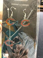 NFL Chicago Bears Necklace and Earrings Set Football Pendant Jewelry