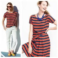 J CREW Top 2 Blouse Gondola Stripe Silk Red Blue Print Short Sleeve Tee XS JCrew