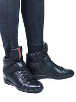 PRADA women's black leather hi-top sneakers | Size EUR38.5/US 7.5 (25 cm/9.8 in)
