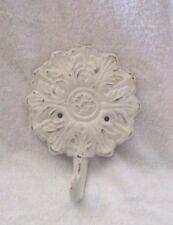 Vintage White Cast Iron Round Floral Design ? Coat Hook