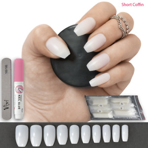 100x SHORT COFFIN FALSE NAILS ✔ Full Cover Opaque Stick On Tips💖 FREE Vixi GLUE