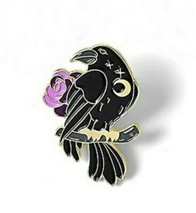 Raven with Rose Pin Badge Brooch. Rook Crow Odin Wiccan Goth Heathen Asatru