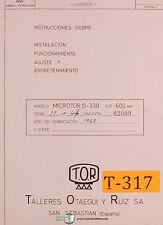 TOR Ruiz, Microtor D-330, Lathe, Spanish Instrucciones and Electric Manual
