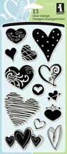 INKADINKADO clear cling stamps HEARTS - for Card making & stamping etc