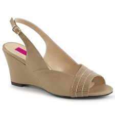Pleaser KIMBERLY-01SP Women's Taupe Faux Leather Slingback Wedge Low Heel Sandal